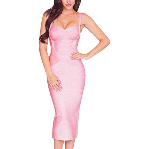 HLBandage Damen Reizvoller Schlinge Bügel Midi Verband Kleid Rosa