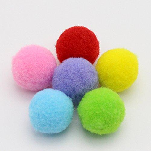 UEETEK 160PCS 3.5CM Juguetes para gatos Clasificado Pelotas de juguete blando bolas de Pompon para Gato Gatito Juguetes(color de la mezcla)