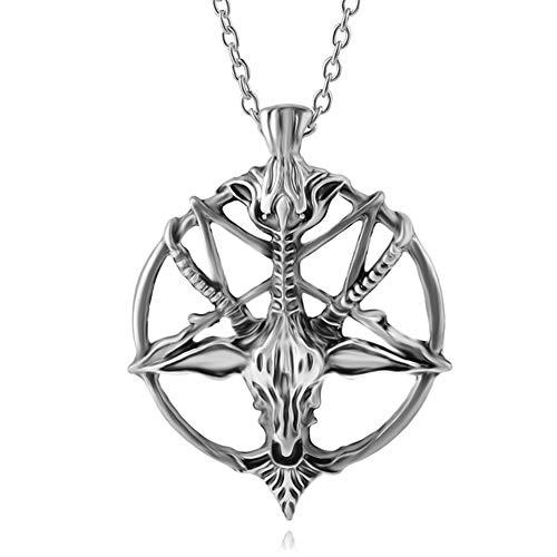 se-Schaf-Kopf-Schädel-Hängende Halskette, Edelstahl Runde Rams Ziegen-Kopf Argali Halskette Schmuck Silber ()