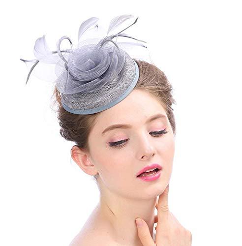 (Frauen Fascinator Stirnband Cocktail Kentucky Derby Feder Headwear Braut Kopfschmuck Hochzeit Tea Party Für Mädchen,Silver)
