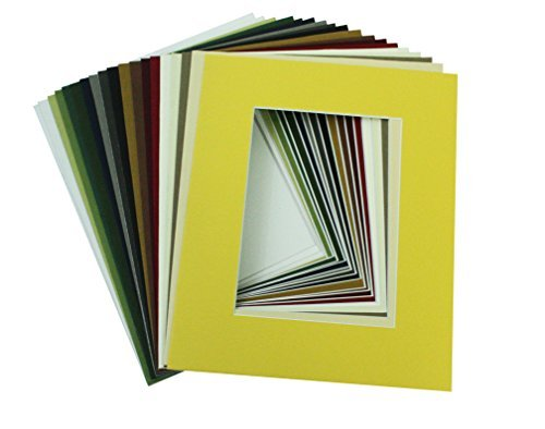 Crescent White Matte (Mat Board Center, High Quality Crescent Pack of 10, 8x10 MIXED COLORS White Core Picture Mats Mattes Matting for 5x7 Photo by Mat Board Center)
