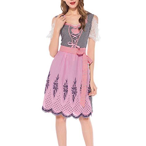QIMANZI Trachten Kleid Dirndl Damen Oktoberfest Kleid Groß Größe Dirndl Kleid mit Schürze Bierfest Bayerisches Maid Kleid Midi Trachtenkleid Dirndkleid Vintage Kleid Cosplay (Chiffon Samt Kostüm)