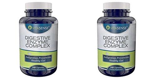Doppel-Pack (Packung mit 2) Vitasense Verdauungs Enzym Komplex - Verdauungsstörungen-Prävention, gesunde Darm - 60 Kapseln -