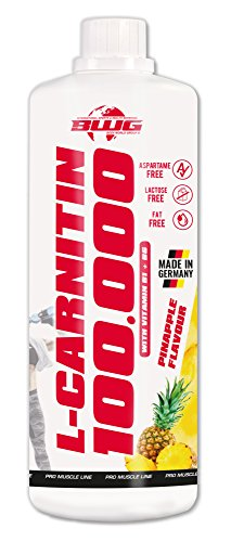 BWG L-Carnitin 100.000 Liquid - flüssig Hochdosiert - Trinkfertig - Professional + Vitamin B1 und B6 - Muscle Line - Definitionsphase - Vegan - Ananas - 1er Pack (1x1000ml)
