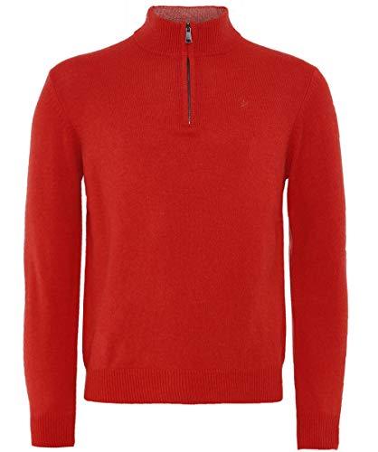Hackett Herren Lammwolle Half-Zip Pullover Rot XL -