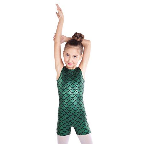 Blaward Body Ragazza, Senza Maniche Body da Ballo da Danza Classica Ginnastica Artistica Squame Pesce
