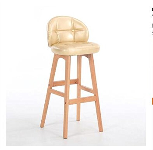 Home bequemer Klappstuhl Hocker Massivholz Sitz Hocker Bar Küche Frühstück Esszimmer Stuhl Rückenlehne Stuhl mit PU-Leder Kissen Rückenlehne Gold chair and stool ( Farbe : A , größe : 40cm*43cm*78cm ) (Gold Frühstück Kissen)