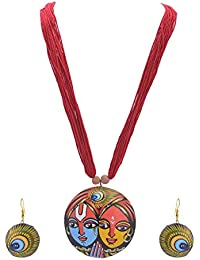Zephyrr Jewellery Set Handmade Painted Terracotta Pendant Necklace Earrings Set