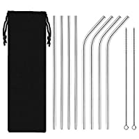 LuckLife 12-Pack Stainless Steel Metal Straws Reusable with 2 Cleaning Brushes - Curved Drinking Straws for 30oz / 20oz Tumblers Yeti Dishwasher Safe