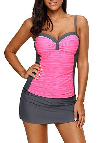 Happy Sailed Womens Two Piece Tankini Sets Swimwear Top with Skirt S-XXL
