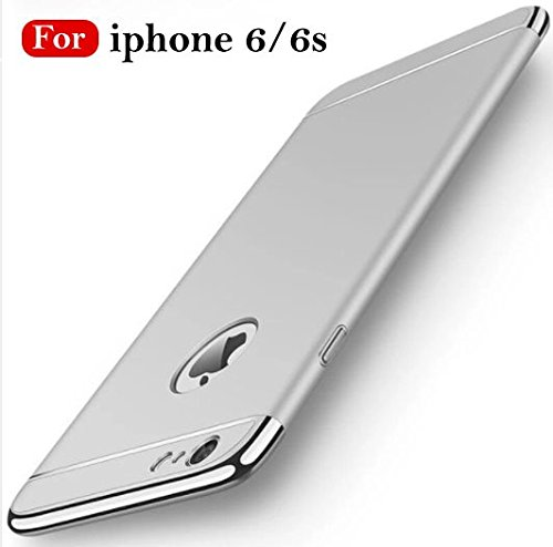 Mobistyle New Chrome 3IN1 Luxury Full Body Protective Back Cover for Apple iPhone 6 /6S (Silver)