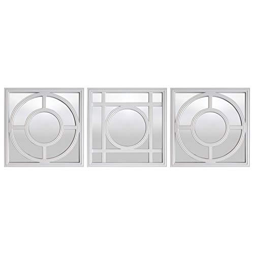 WHW Whole House Worlds Hampton-Spiegel, 3-teiliges Set, Kreise und Quadrate, Gitter, brillantes, reflektierendes Glas, rustikales Weiß, abgeschrägter Kunststoffrahmen, je 22,9 x 22,9 cm -