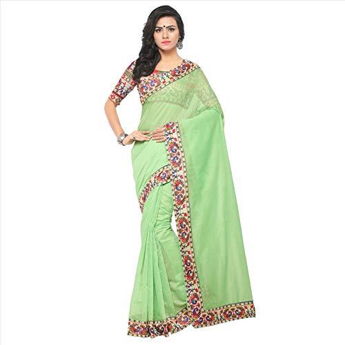 Indian Bollywood Wedding Saree indisch Ethnic Hochzeit Sari New Kleid Damen Casual Tuch Birthday Crop top mädchen Cotton Silk Women Plain Traditional Party wear Readymade Kostüm (Green) -