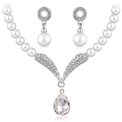 Oviya Valentine White Rhodium Plated Necklace Set ...