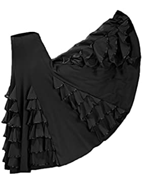 Baoblaze Vestido de Flamenca Ropa de Baile Complimentos de Mujer Falda de Tango Elegnate