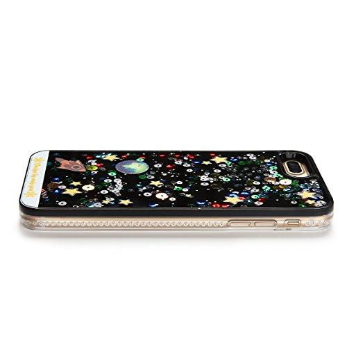 iPhone 7 Plus Hülle , iPhone 8 Plus Bumper [5.5 Zoll] , Hart PC Hardcase Tasche Liquid Schutzhülle Treibsand Etui Anti-stoß Telefon-Kasten Glitzer Schutz Glitter Schale Anfire Case Für Apple iPhone 7  Weltraum