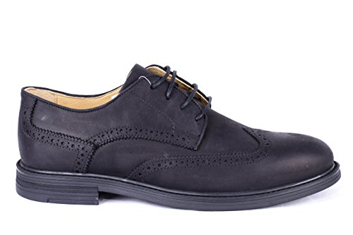 Size 7 UK (41 EU) Only – Steptronic Treviso casual black slate pull up waxy leather lace up brogue gibson shoes with sheepskin lining