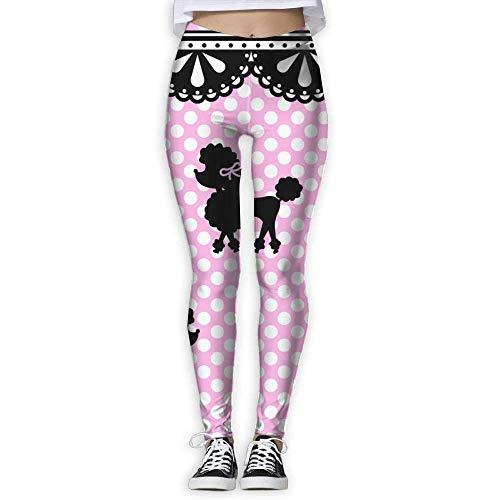 QIAOJIE-High Waist Ultra Soft Lightweight Leggings, Pink Poodle Women Funny Print Yoga Leggings Pants Workout Fitness Pants Sports Gym Yoga Quick Dry Capri Leggings