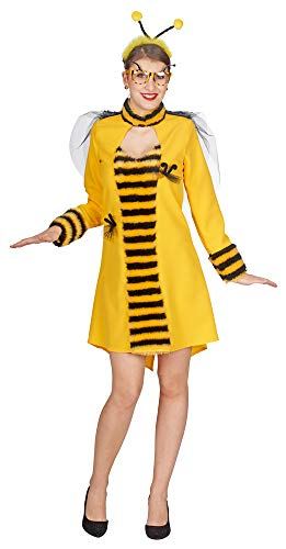 Erwachsene Kostüm Biene Damen Honig Für - Andrea Moden Bienen Kostüm Kleid Sally für Damen - Gelb/Schwarz Gr. 44/46
