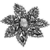 Rosemarie Collections da donna motivo floreale grigio Dichiarazione Spilla