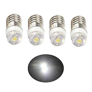 ANFTOP 4pcs per Pack E10 Base Socket LED Bulb DC 3V White 6000K 0.5W Replace Torch Headlight Headlamp Mini Head Lamp Flashlight Bulbs Light