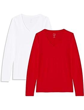 MERAKI Camiseta Manga Larga Mujer Cuello de Pico, Pack de 2