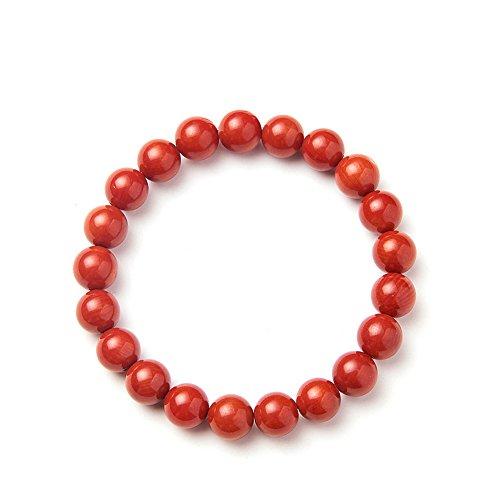 b4c90fb255d2 SUNNYCLUE Teñida de rojo Coral cuentas pulsera elástica para las mujeres  hombres 8 mm perlas de