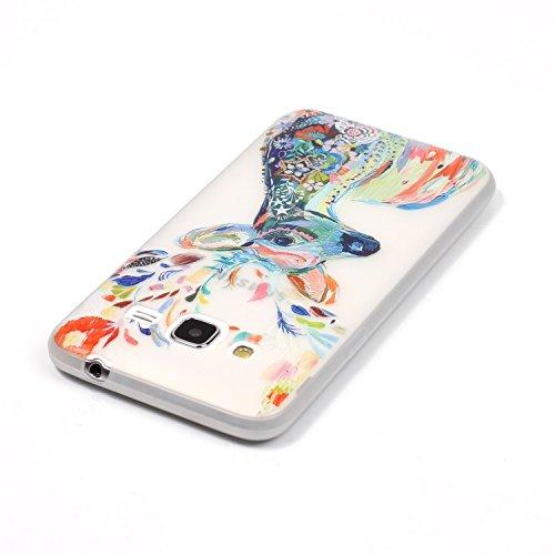 CaseHome Samsung Galaxy J310/J3 (2016) Luminous Hülle (Mit Frie Displayschutzfolie) Leuchtende Silikone Rückhülle Für iPhone 6 6s Plus 5.5 Zoll Zoll Silikon Etui Handy Hülle Weiche Transparente Lumino Aquarell Hirsch