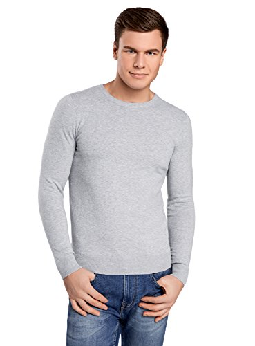 oodji Ultra Homme Pull Basique à Col Rond Gris (2300M)