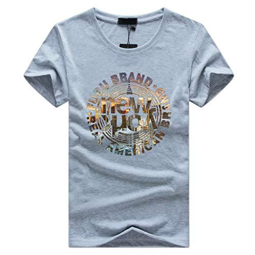 Herren Crew Neck Body Fit Marble Design Shirt Sommer T-Shirt Rundhals Ausschnitt