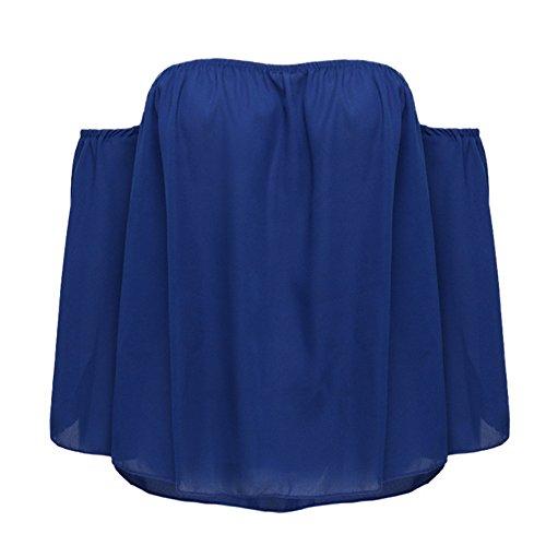 Longra Donna T-shirt in chiffon senza maniche chiffon a maniche lunghe in barca Blu