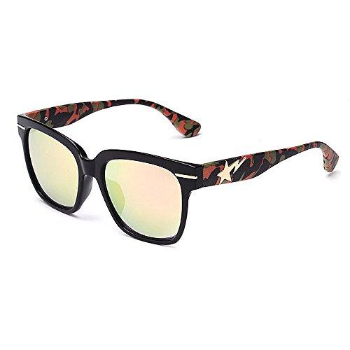 Yiph-Sunglass Sonnenbrillen Mode Camouflage Leg Full Frame Retro Sonnenbrille für Frauen Männer UV-Schutz für Outdoor Driving Ferien Sommer Strand (Farbe : Rosa)
