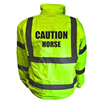 Caution Horse Kids Hi Vis Yellow Bomber Jacket, Reflective High Visibility Safety Childs Coat, By Brook Hi Vis