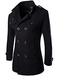 HDH Mens Double Breasted Pea Coat Long Jacket Slim Fit Long Sleeve Casual  Lightweight Jacket Parka 026a50f156cc