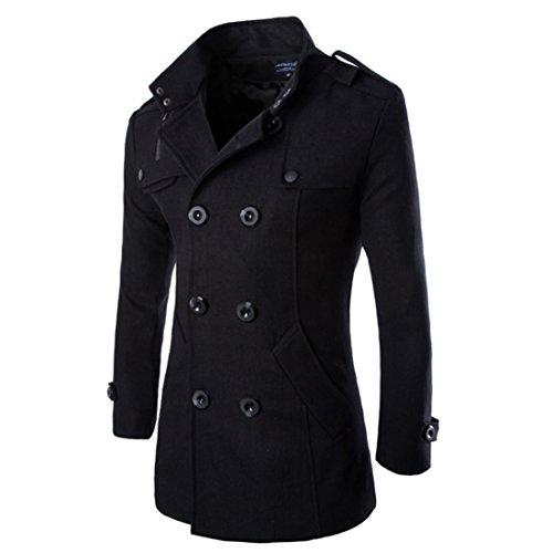 Homme Caban Manteaux Mi-Long Double Boutonnage Blazer Costume Pardessus Veste Blouson (Noir, EU XL(Tag 2XL))