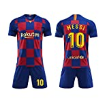 Camiseta Jersey Futbol Barcelona 2018-2019 Traje de niños Manga Corta + Pantalones Cortos (Messi-10,L/Altura Adulto 175-180CM)