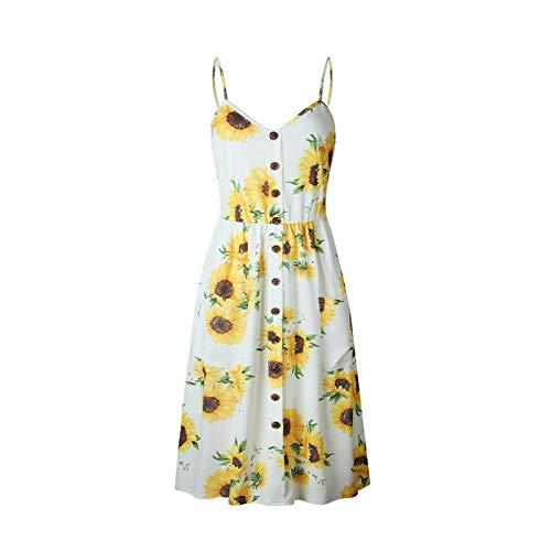 PLOPYSE& Women's Dress Summer Boho Casual Long Maxi Evening Party Cocktail Beach Sundress 0665-Yellow L