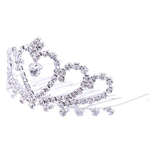 Blesiya Hochzeit Strass Diadem Haarreif Haarschmuck Brautschmuck Kinder Mini Tiara - Silber 08, 8 x 5cm (Mini-tiara Silber)