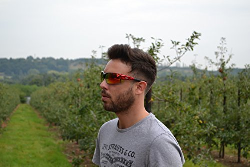 Edge Rot POLARISIERTE SPORT SONNENBRILLE - 4 x Wechselgläser - ideale Radsportbrille, Triathlon Brille usw. UV schutz 400