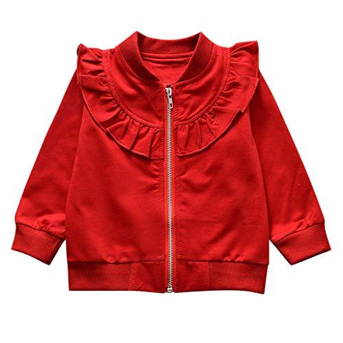 Kleinkind Kinder Baby Mädchen Baumwolle Langarm solide Reißverschluss Sweatsuit Tops Oberbekleidung