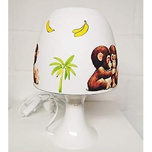 ✿ Tischlampe ✿ AFFEN 3 Dschungel Palme Banane Liane personalisiert Name ✿ Tischleuchte ✿ Schlummerlicht ✿ Nachttischlampe ✿ Lampe ✿