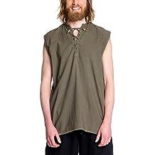 Camisa con cordones medieval de hombre sin mangas verde oliva algodón
