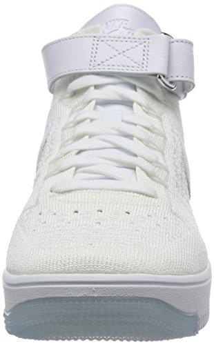 Nike Af1 Ultra Flyknit Mid, Scarpe da Basket Uomo Bianco
