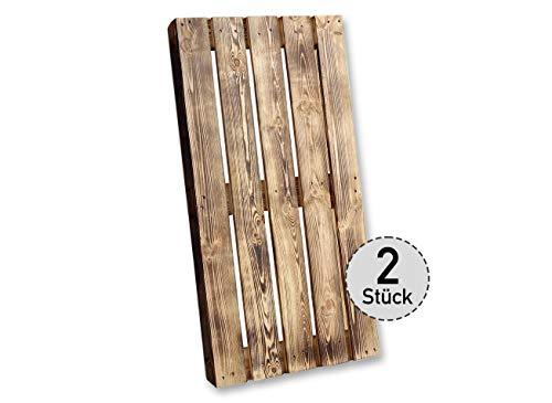 Vinterior 2 Stück Geflammte Holzpalette 120x60x12,5cm Geflammte Holzpalette/Palette flammbiert aus Holz - Europalette Einwegpalette Tauschpalette Upcycling Palettentisch