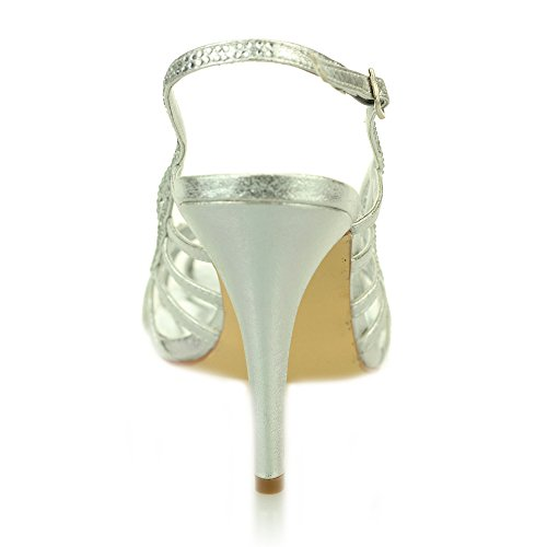 schuh Silber Prom Diamante dame Silber Hochzeit Schwarz Aarz Frauen größe gold absatz abend sandelholz nC8qRx