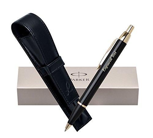 henkideen Parker Kugelschreiber IM - Schwarz GT + Leder Tasche Schwarz + Box (Kundenspezifische Geschenk-taschen)