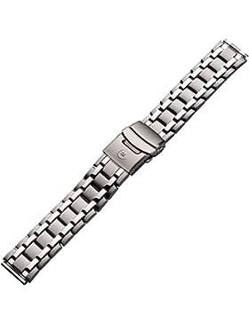 Uhrenarmband Metall 18mm silber - Gliederband mit Faltschließe inkl. Wechselanstoß 20mm - satiniert gebürstet,...
