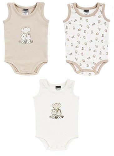 Jacky Boley Baby unisex Achsel-Body ärmellos 3er-Pack Tierfreunde beige 6151772 (74/80)