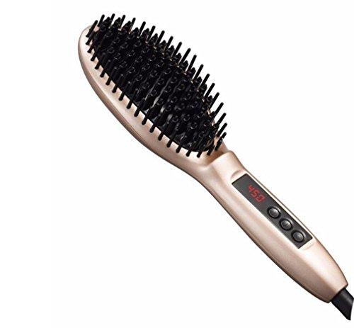 Richtungsbürsten Haarglätter Digital LCD Anti Frizz Haar Styler Sofort Aufheizen Variable Temperaturregelung Straight Straight Hair Kamm Straight Roll Dual Perm