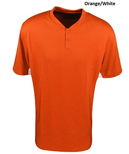 Mizuno Men' s 2 Button color block Short Sleeve baseball jersey Orange/White